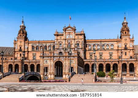 Central par of the  building at the Plaza de Espana in Seville, Andalusia, Spain. It's example of the Renaissance Revival style in Spanish architecture. - stock photo