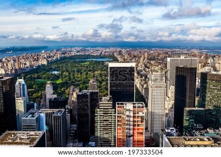 Central Park aerial view, Manhattan, New York - stock photo