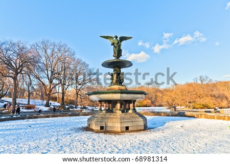 Central Park after a major snow storm (Manhattan) - stock photo