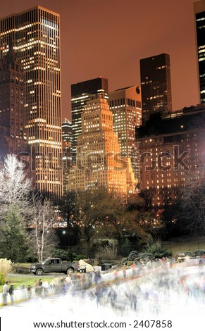 Central Park and manhattan skyline at Night, New York City