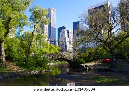 Central Park and Manhattan skyline, New York City - stock photo