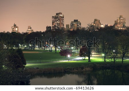 Central Park at night in New York City. - stock photo