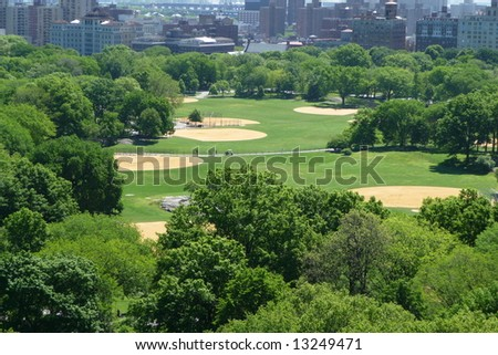 Central Park ball fields - stock photo
