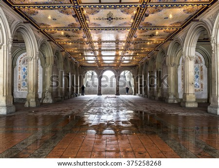 Central Park during a snow storm on Febuary 4th 2016 New York City,Manhattan,Tunnel leading to Bathesda Fountain Terrace - stock photo