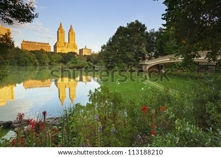 Central Park. Image of The Lake in Central Park, New York City, USA. - stock photo