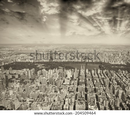 Central Park in Manhattan, New York City. Helicopter view on a sunny day. - stock photo
