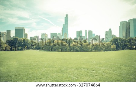 Central park in New york city without people. Central park is the most important park of the city - stock photo