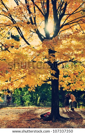 Central Park in the Fall with tourists - stock photo