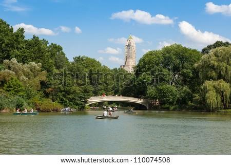 Central Park Lake  in  Manhattan, New York - USA - stock photo