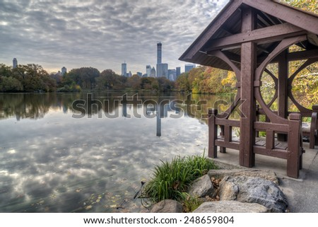 Central Park, New York City at the lake in autumn - stock photo
