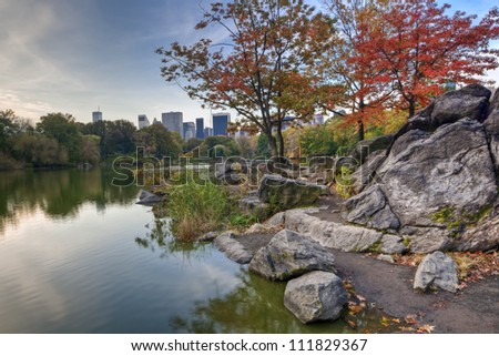 Central Park, New York City at the lake in the early morning
