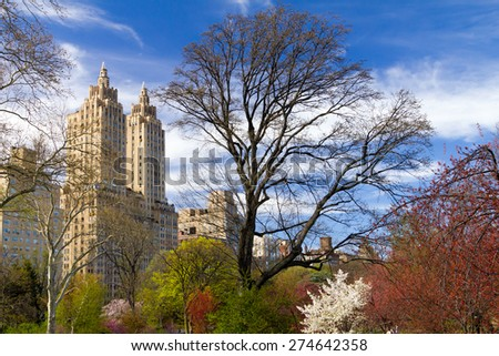 Central Park, New York City - Colorful Spring Landscape - stock photo