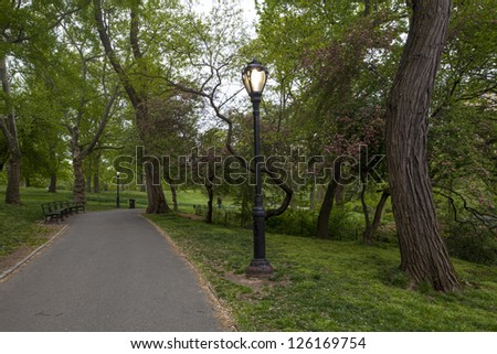 Central Park, New York City early morning near the upper West Sid,  spring - stock photo