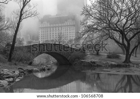 Central Park, New York City Gapstow bridge on foggy March day