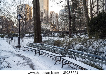 Central Park, New York City Gapstow in winter after snow storm - stock photo
