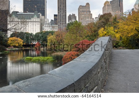 Central Park, New York City Gapstow old stone bridge in by 50th street - stock photo