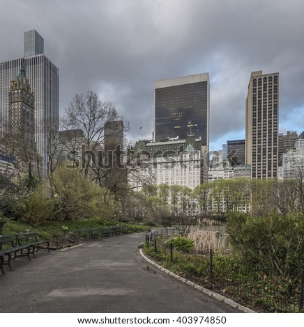 Central Park, New York City in front of the Plaza hotel - stock photo