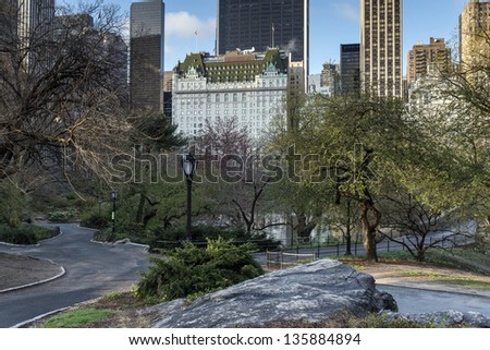 Central Park, New York City near the Plaza hotel in spring - stock photo