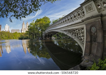 Central Park, New York City under the bow bridge in the early morning - stock photo