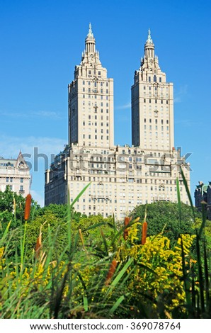 Central Park, New York City, Usa: the San Remo Building on September 14, 2014. The San Remo Building, known as the famous landmark, was opened in 1930 - stock photo