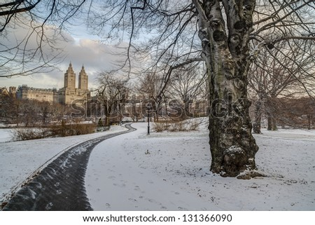 Central Park, New York City winter scene after blizzard - stock photo