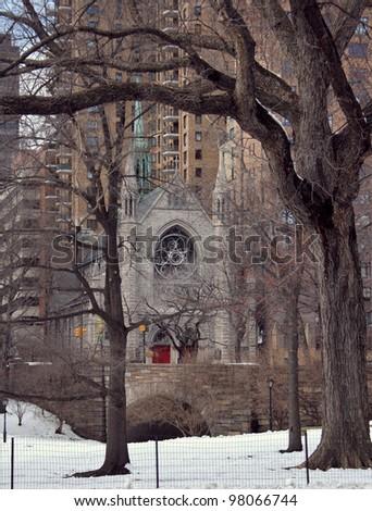 Central Park , New York, United States (Holy Trinity Lutheran Church) - stock photo