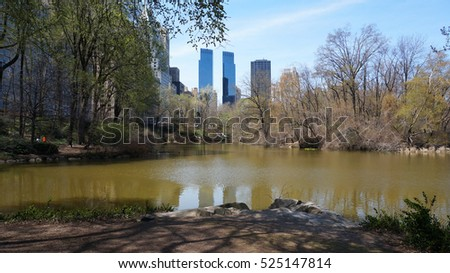 Central Park overlookin Manhattan skyline, New York city, United States of Americaica