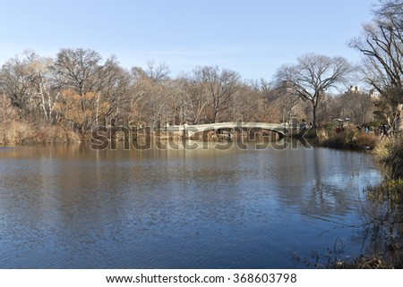 Central Park picture with a lake and trees. All reflecting on lake. Tree without foliage. - stock photo