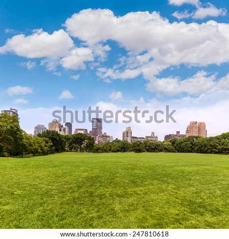 Central Park Sheep meadow Manhattan New York US - stock photo