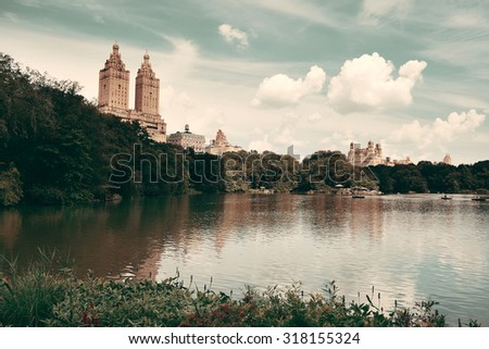 Central Park Spring in midtown Manhattan New York City - stock photo