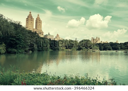 Central Park Spring in midtown Manhattan New York City - stock photo