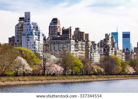 Central Park Spring Landscape Scene in Manhattan, New York City - stock photo
