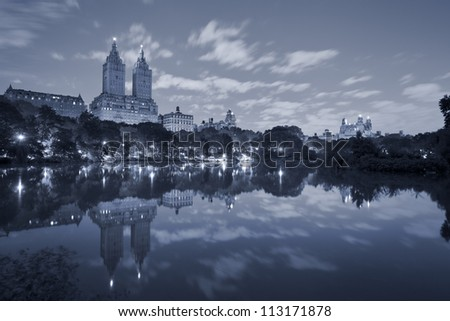 Central Park. Toned image of the Central Park in Manhattan at night. - stock photo