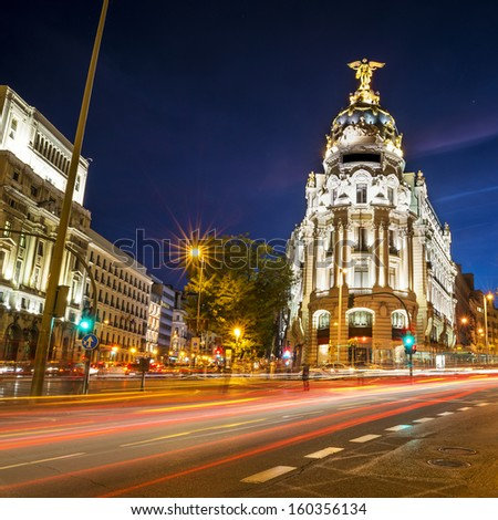 central position by night in madrid city, Spain - stock photo