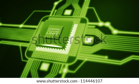 Central Processing Unit. (microchip) Concept of technology background. High resolution 3d render