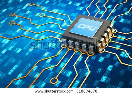 Central processor and computer technology concept, microchip with electronic circuit board on blue background with digital code data - stock photo
