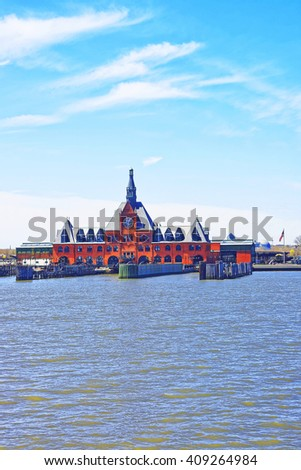 Central Railroad of New Jersey Terminal, USA, in Hudson Waterfront, Hudson River. Ferry slips serving boats. - stock photo