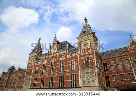 Central Railway Station building in Amsterdam, Netherlands - stock photo