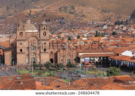 Central square In Cuzco, Plaza de Armas. Peru.  - stock photo