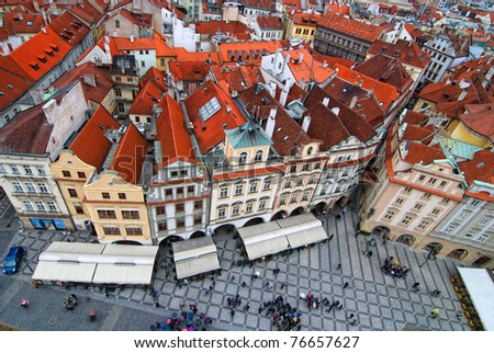 Central square in Prague. View from tower. - stock photo