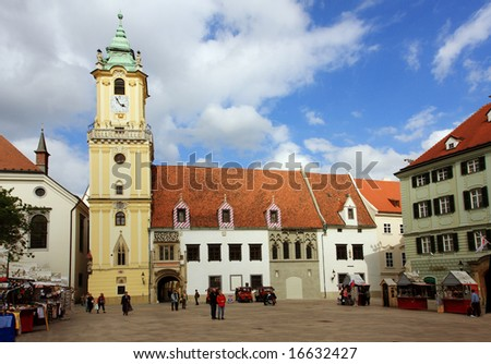 Central square of Bratislava (Hlavny namestie) - stock photo