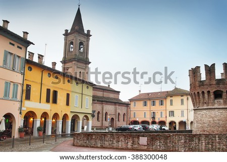 Central square of old town of Fontanellato, Emilia Romagna, Italy.