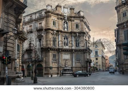 Central square of Quattro Canti di citta in Palermo, Sicily, Italy - stock photo