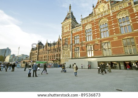 Central Station in Amsterdam the Netherlands - stock photo
