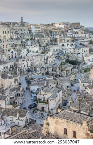 Central street in the old part of Matera, Italy