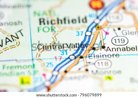 Central Valley Utah USA On Map Stock Photo (Edit Now) 796079899 ...