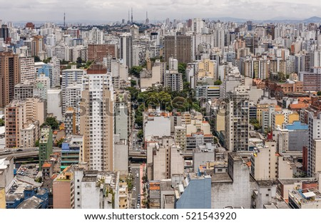 Central Zone of Sao Paulo, one of the biggest cities in Brazil, as it can be seen from Edificio Italia.