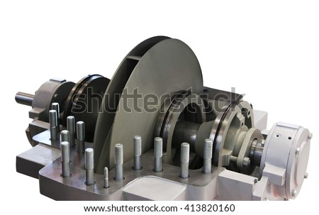 Centrifugal pump with open top lid. Isolated on white background - stock photo