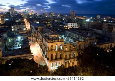 Centro Havana at Night - stock photo