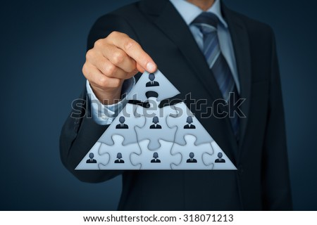 CEO, leadership and corporate hierarchy concept - recruiter complete team represented by puzzle in pyramid scheme by one leader person (CEO).
